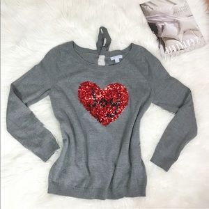 🔥New York and Company Grey sequin Heart  Sweater
